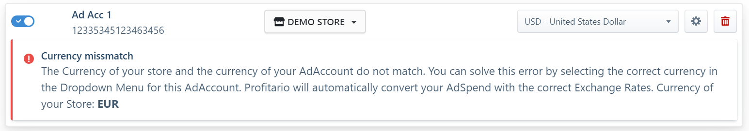 Currency of store and adaccout not matching
